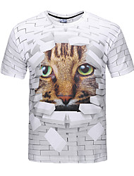 cheap -Men's Party Going out Club Street chic / Punk & Gothic T-shirt - 3D / Animal Print Round Neck Brown / Short Sleeve / Spring / Summer
