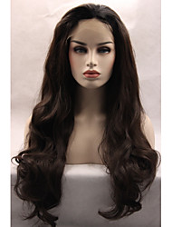 cheap -Synthetic Lace Front Wig Wavy Kardashian Style Lace Front Wig Black Dark Brown Brown Natural Black Synthetic Hair Women's Natural Hairline / Glueless Black / Brown Wig Long