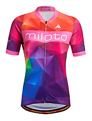 cheap -Miloto Women's Short Sleeve Cycling Jersey Stripe Classic Plus Size Bike Shirt Sweatshirt Jersey, Breathable Quick Dry Reflective Strips 100% Polyester / Stretchy / Sweat-wicking