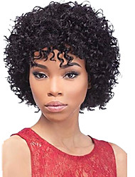 cheap -Human Hair Wig Short Hairstyles 2019 With Bangs Halle Berry Hairstyles style Afro Deep Wave Wig 130% Density Natural Hairline African American Wig 100% Hand Tied Women's Short Medium Length Human