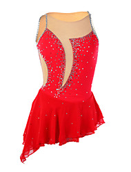 cheap -Figure Skating Dress Women's Girls' Ice Skating Dress Red Asymmetric Hem Elastane High Elasticity Competition Skating Wear Handmade Patchwork Sleeveless Ice Skating Figure Skating