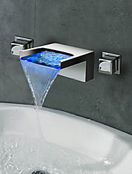 cheap -Bathroom Sink Faucet - Waterfall / LED Chrome Wall Mounted Two Handles Three HolesBath Taps