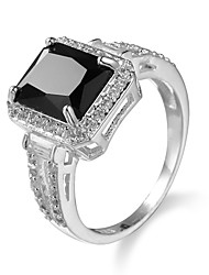 cheap -Women's Ring Onyx AAA Cubic Zirconia Black Zircon Cubic Zirconia Alloy European Fashion Casual Jewelry Simulated