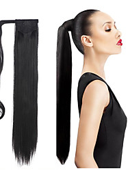 cheap -synthetic hair long ponytail wowen straight clip in ponytail ribbon ponytail hair extension hairpiece fake hair pieces