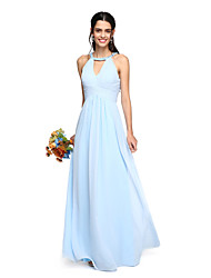 cheap -A-Line Jewel Neck Floor Length Georgette Bridesmaid Dress with Beading / Draping / Criss Cross