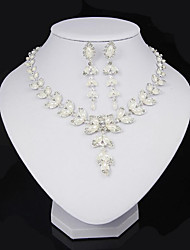 cheap -Women's Jewelry Set Leaf Ladies Pearl Crystal Imitation Pearl Earrings Jewelry White For Party Daily