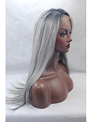 cheap -Synthetic Lace Front Wig Straight Straight Lace Front Wig Black / Grey Synthetic Hair Women's Natural Hairline Mixed Color