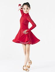 cheap -Latin Dance Dresses Children's Performance Spandex Ruffles 1 Piece Long Sleeve Natural Dress