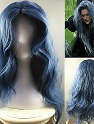 billige -Syntetiske parykker Kostumeparykker Vand Bølge Vand-bølget Paryk Lang Blå Syntetisk hår Dame Midterskilning Blåt