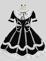 cheap -Princess Gothic Lolita Dress Women's Girls' Cotton Japanese Cosplay Costumes Black Solid Colored Short Sleeve Knee Length