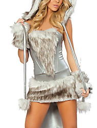 cheap -Wolf Cosplay Costume Party Costume Women's Halloween Carnival New Year Festival / Holiday Polyester Silver+Gray Carnival Costumes Patchwork