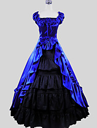 cheap -Victorian Costume Women's Dress Skirt Blue Vintage Cosplay Charmeuse Cotton Short Sleeve Cap Sleeve Ankle Length Ball Gown Plus Size Customized