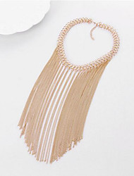 cheap -Women's Choker Necklace Layered Tassel Liquid Silver Necklace Tassel European Fashion Multi Layer Alloy Silver Golden Necklace Jewelry For Party Daily Casual
