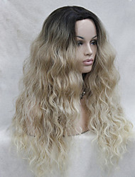 cheap -high quality heat resistant synthetic ombre blonde with dark root wavy lace front long wig