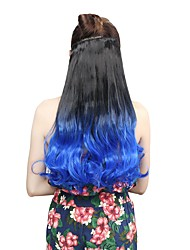 """cheap -Neitsi® 1pc 110g 22"""" 3/4 Full Head 5clips Kanekalon Synthetic Braiding Hair Pieces Clip In/on Wavy Extensions Blue#"""