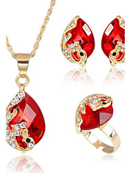 cheap -Women's Crystal Jewelry Set Peacock Earrings Jewelry Red / Green / Blue For Party Daily Casual / Rings