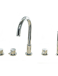 cheap -Bathtub Faucet - Contemporary Chrome Tub And Shower Ceramic Valve Bath Shower Mixer Taps / Brass / Three Handles Five Holes