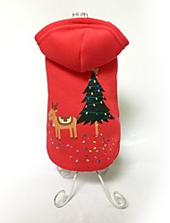 cheap -Dog Coat Hoodie Winter Dog Clothes Red Costume Cotton Animal Keep Warm Fashion Christmas XS S M L XL