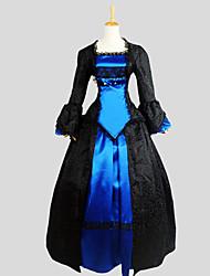 cheap -Gothic Lolita Dress Outfits Women's Girls' Silk Japanese Cosplay Costumes Blue Jacquard Long Sleeve Asymmetrical / Tuxedo
