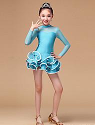 cheap -Latin Dance Dresses Performance Chinlon / Tulle Ruffles Long Sleeve High Dress