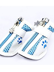 cheap -Cat / Dog Shoes & Boots Cute Winter / Summer / Spring/Fall Color Block Blue PU Leather