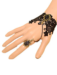 cheap -Princess Rozen Kristall Ring Bracelet / Slave bracelet Lolita Slave Bracelet Gothic Style Punk Fashion Solid Color Rhinestone Lace Artificial Gemstones Alloy Lolita Jewelry For Event / Party Prom