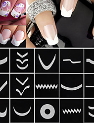 cheap -18 sheets set french manicure diy nail art tips guides stickers stencil strip