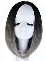 cheap -Synthetic Wig Straight Straight Wig Black / Grey Synthetic Hair Gray