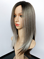 cheap -Synthetic Wig Straight Straight Wig Medium Length Black / Grey Synthetic Hair Women's Ombre Hair African American Wig Gray