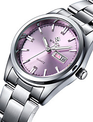 cheap -WWOOR Women's Wrist Watch Quartz Stainless Steel Silver Water Resistant / Waterproof Analog Ladies Charm Luxury Casual Fashion - White Pink Navy Two Years Battery Life