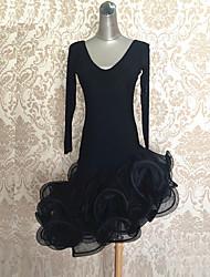 cheap -Latin Dance Dresses Women's Performance Spandex / Organza Ruffles Long Sleeve High Dress