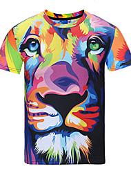 cheap -Men's Party Daily Sports Street chic / Punk & Gothic T-shirt - Animal Print Round Neck Rainbow / Short Sleeve / Spring / Summer / Club