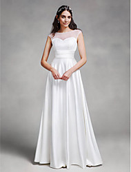 cheap -A-Line Bateau Neck Floor Length Satin Cap Sleeve See-Through Made-To-Measure Wedding Dresses with Sash / Ribbon 2020