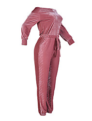 cheap -Women's Velvet Off Shoulder Daily Boat Neck Blue Pink Jumpsuit Onesie, Solid Colored S M L High Rise Long Sleeve Fall Winter
