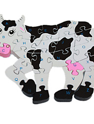 cheap -1 pcs Cow Jigsaw Puzzle Wooden Puzzle Wooden Model Lovely Novelty Wood Kid's Adults' Toy Gift