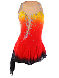 cheap -21Grams Figure Skating Dress Women's Girls' Ice Skating Dress Orange red Violet Purple Halo Dyeing Asymmetric Hem Spandex Elastane Competition Skating Wear Handmade Fashion Sleeveless Ice Skating