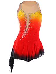 cheap -21Grams Figure Skating Dress Women's Girls' Ice Skating Dress Orange red Violet Purple Halo Dyeing Asymmetric Hem Spandex Elastane Competition Skating Wear Handmade Fashion Sleeveless Ice Skating