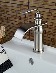 cheap -Bathtub Faucet - Waterfall Nickel Brushed Centerset Single Handle One HoleBath Taps / Brass