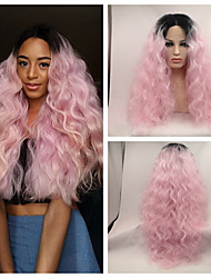 cheap -sexy beauty high heat resistant loose wave kinky curly lace front wig synthetic ombre pink dark root tone rock pink hair lace front wig cosplay wig