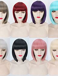 cheap -Synthetic Wig Straight Straight Bob With Bangs Wig Blonde Pink Short Silver Blonde Grey Pink Blue Synthetic Hair Women's Red Blonde Pink
