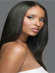 cheap -Remy Human Hair Glueless Full Lace Full Lace Wig style Brazilian Hair Straight Yaki Wig 130% 150% 180% Density with Baby Hair Natural Hairline African American Wig 100% Hand Tied Women's Short Medium