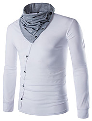 billige -Herre T-shirt Farveblok Toppe Rund hals Hvid Sort Rød / Sport / Forår / Efterår / Langærmet