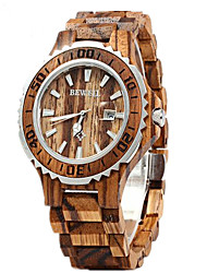 cheap -Couple's Wrist Watch Quartz Wood Red 30 m Calendar / date / day Analog Luxury Classic Fashion Wood - Brown Red Rainbow Two Years Battery Life
