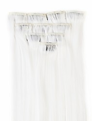 cheap -neitsi 10pcs 18inch colored highlight synthetic clip on in hair extensions white