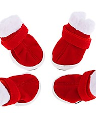 cheap -Cat Dog Boots / Shoes Keep Warm Snow Boots Color Block For Pets Fabric Rubber Red / Winter