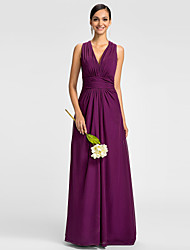 cheap -A-Line V Neck Floor Length Chiffon Bridesmaid Dress with Side Draping / Ruched