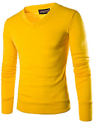 cheap -Men's Daily Solid Colored Long Sleeve Regular Pullover Sweater Jumper, V Neck Fall / Winter Black / Brown / Wine M / L / XL