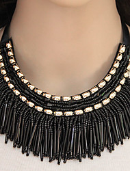 cheap -Women's Collar Necklace Statement Necklace Tassel Beads Ladies Tassel European Fashion Resin Alloy Gray Blue Rainbow Necklace Jewelry For Party