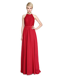 cheap -Sheath / Column Jewel Neck Floor Length Chiffon / Lace Bridesmaid Dress with Lace / Sash / Ribbon