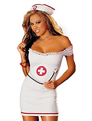 cheap -Women's Career Costumes Nurse Hospital Services Uniforms Sex Cosplay Costume Party Costume Color Block Skirt Hat / Spandex